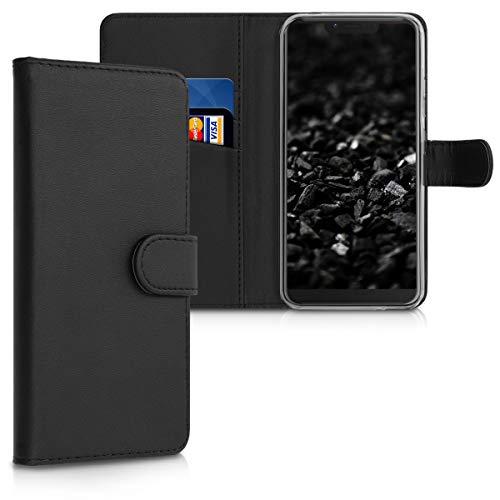 kwmobile Wallet Hülle kompatibel mit Wiko View 2 Plus - Hülle Kunstleder mit Kartenfächern Stand in Schwarz
