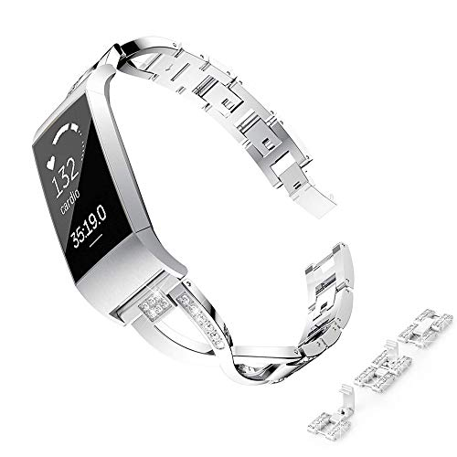 VEAQEE Stainless Steel Metal Bands Compatible Charge 3, Bling Rhinestone Replacement Band Bracelet Wristbands Accessories Straps for Charge3 &Charge3 SE (Silver)