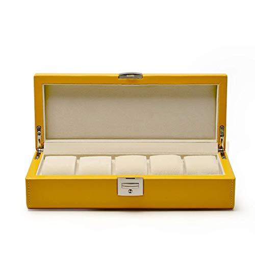 ROLLHDD 4/5 Macaron Leder Uhrenbox Vitrine Organizer Glas Schmuck Aufbewahrung gelb (Size : Five Grid)