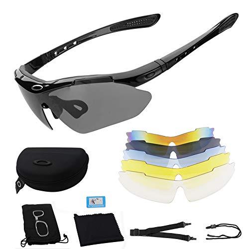 Polarisierte Sportbrille,Sportbrille Fahrradbrille,Sportbrille mit UV400 5 Wechselgläser,inkl Schwarze polarisierte Linse für Outdooraktivitäten,wie Radfahren Laufen Klettern Autofahren Angeln Golf