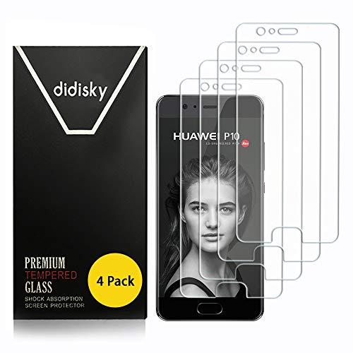Didisky Pellicola Protettiva in Vetro Temperato per Huawei P10,[4 Pezzi] Protezione Schermo [Tocco Morbido ] Facile da Pulire, Facile da installare, Trasparente
