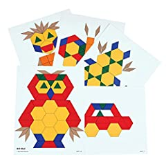 PERFECT EARLY MATH ACTIVITY FOR AGES 3-8 -- These pattern block picture cards are a fascinating way to encourage students to construct creative shapes using Learning Advantage Pattern Blocks Ideal for learning shape/color recognition and problem solv...
