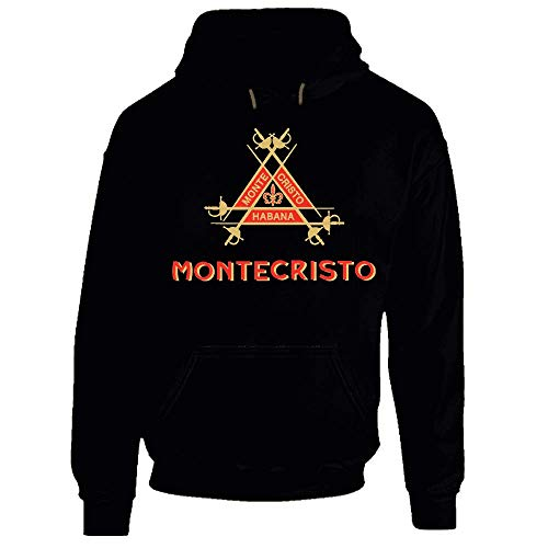 Montecristo Cuban Cigar Logo Hoodie Stogie Cigar Smoking tee Hoodie. Nero XXX-Large