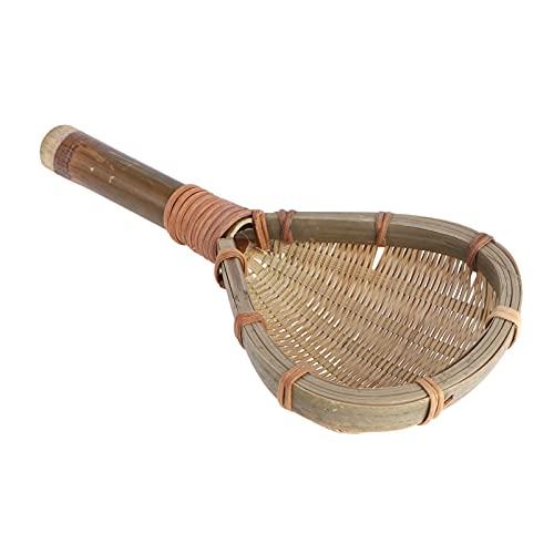Homoyoyo Colador Tejido de Bambú Cuchara de Cocina Hecho a Mano Colador Fideos Cuchara Accesorios de Cocina