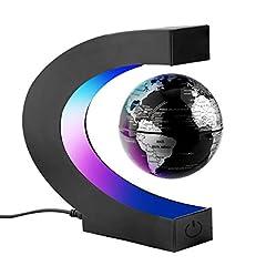 Surplex C-Forme Flottante magnétique Float Mappemonde globe avec écran led support, globe de la terre rotative globe, culture du logement Bureau Décoration Géographie Éducation Jouets Enfants Cadeau - Noir