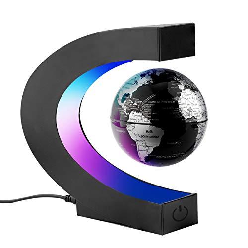 Surplex C Forma Globo Flotante de Levitación Magnética con Luces color LED, Mapa de Mundial Rotativo para la Educación Enseñanza Inicio Oficina de Decoración de Escritorio Regalo (Negro)