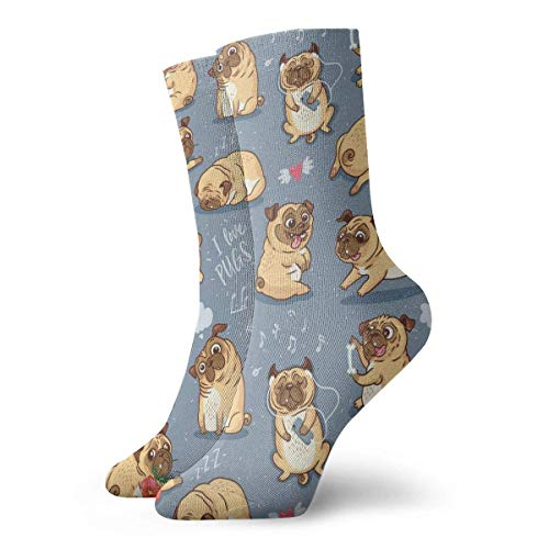 Love girl Unisex Crew Socken Cute Funny Cartoon Mops Fashion Neuheit Dry Sportsocken Strümpfe 30cm