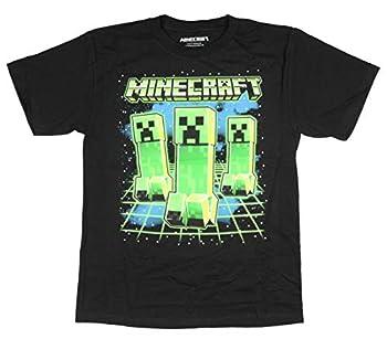 Minecraft Boy s Glowing Creepers Graphic Print T-Shirt  Medium