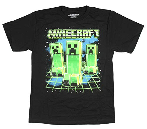 Minecraft Boy's Glowing Creepers Graphic Print T-Shirt (Large)