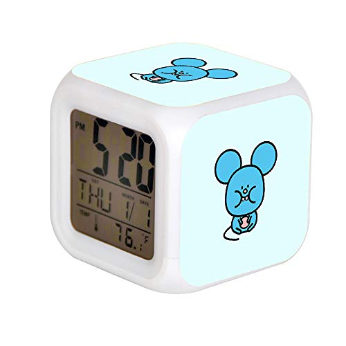 Kids Cute Cartoon Alarm Clock 7 Colors Changing Night Light Led Digital Alarm Clocks Student Desk Clock with Thermometer Brie - Happy - Mouse from Toca Pet Doctor by Toca Boca ava