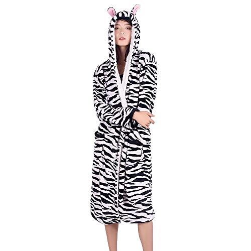 Erwachsene Tier Flanell Bademantel Frauen Männer NachtwäschePaar Bademantel Dicke Warme Robe Winter Panda Pyjama Bademantel, Zebra, L