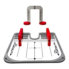 The PuttOUT Mirror helps you work on alignment and positioning while putting. With this pack you can setup all of the best putting drills. Set the width of the magnetic putter guides on the mirror to check your alignment and address position. Your pu...