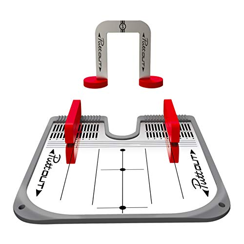 PuttOut Unisex– Erwachsene Putting Spiegel Trainer, Rot/Grau, One Size