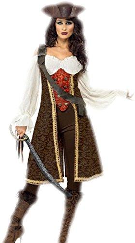 erdbeerloft - Damen Piratenkostüm Jacke mit aufgesetzter Weste vorne und Bluse, Hose, Baldric., XL, Mehrfarbig