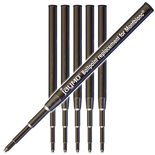 Jaymo - 6 pretos – Refil para caneta esferográfica – Substituição para Montblanc 117000-3,9 polegadas/98 mm de comprimento