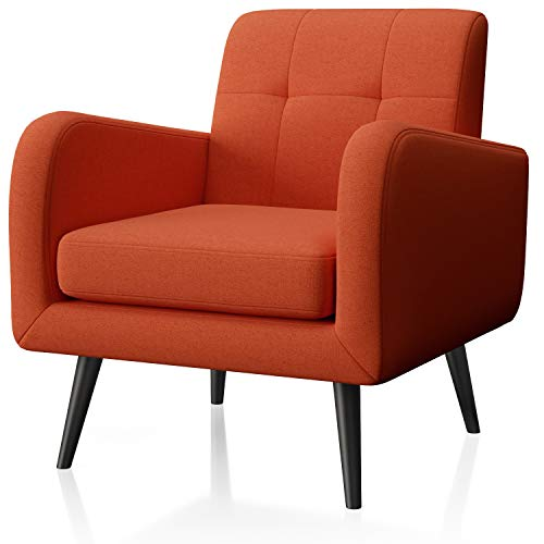 JustRoomy Modern Accent Chair Fabric Armchair Living Room Chair Upholstered Arm Chair Comfy Mid-Century Leisure Lounge Chair Bedroom Office Single Sofa Side Chair with Removable Seat Cushion, Orange