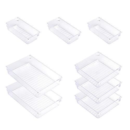 Cajonera moderna de plástico transparente para escritorio, organizador de maquillaje, cajón, separadores para oficina, cocina, dormitorio, cuarto de baño