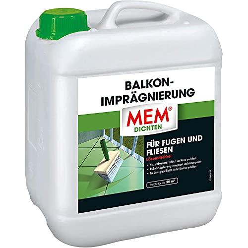 MEM Balkon-Imprägnierung, Für saugende Untergründe, Wasserabperleffekt, Wasserdicht und atmungsaktiv, Lösemittelfrei, 5 l