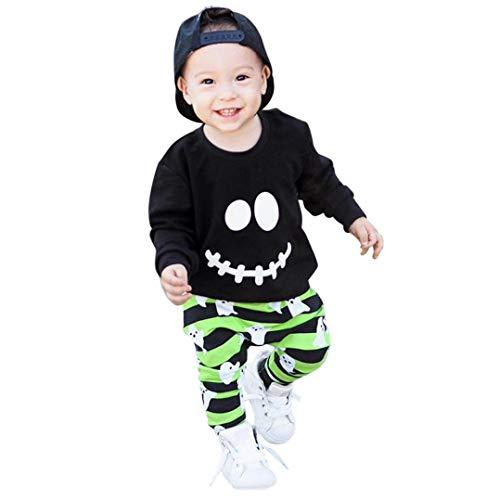 K-youth Conjuntos Bebé Niño, Pequeño Niño Bebé Ropa Halloween Dibujos Animados Imprimir Camiseta Tops + Pantalones a Rayas Conjuntos 6 Meses - 4 Años(Negro, 18-24 Meses)
