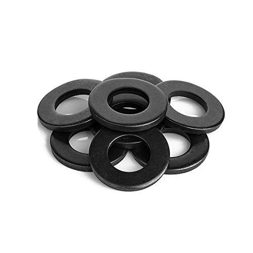 SENDILI 100/50 Piezas Arandelas - M3 M4 M5 M6 M8 M10 Arandela Planas Metal Redonda de Acero al Carbono para Reparación, Negro, M4*9 * 0.8(100 Piezas)