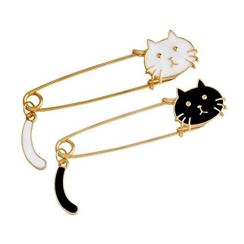 oshhni 2X Broche de Gato Negro Blanco Pin Mujer Joyería Pin de Seguridad Grande Suéter Clip Guard