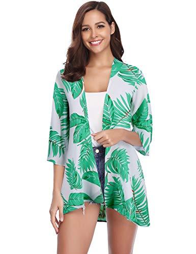 Abollria Damen Chiffon Kimono Cardigan 3/4 Arm Tropenprint Strand Jacke Leicht Bikini Cover up, Grün, L