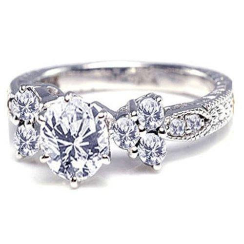 DazzlingRock Anillo de compromiso de oro blanco de 14 quilates con diamantes redondos de 1 1/2 quilates (1,50 quilates, color H-I, claridad I1)