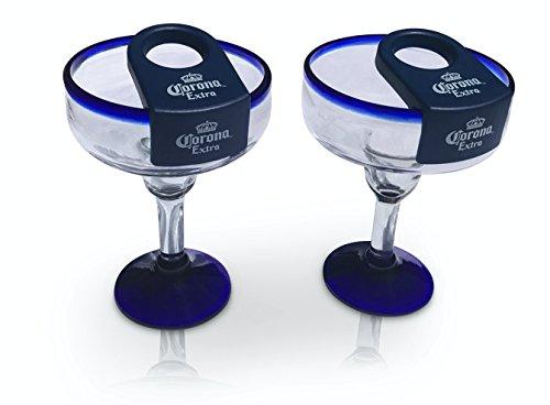 Coronarita Margarita Glasses with Clip Handmade in Mexico - Set of 4, 16oz.