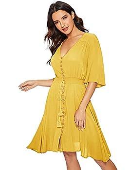 Milumia Women s Boho Button Up Split Solid Vintage Flowy Party Dress Yellow Medium