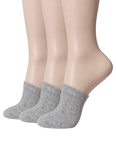 OSABASA Women's Socks Cotton Toe Half Socks Toe Topper Liner Half Socks Seamless GRAY (SET3KWMS0377)
