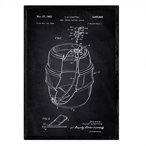 Nacnic Poster con patente de Barril de cerveza. Lámina con