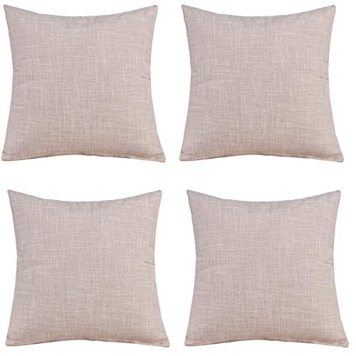 Gonove 4 Pack - 18'X18 Vintage Cotton Linen Pillowcase Square Throw Pillow Case Decorative Cushion Cover for Sofa, Bed, Chair (Beige)
