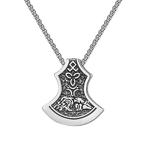 NICEWL Collar de Hacha de Runas de Lobo Celta Vikingo, Colgante Vintage Guerrero nórdico Thor's Hammer Odin Tomahawk, Joyas Hombres Paganos,70cm