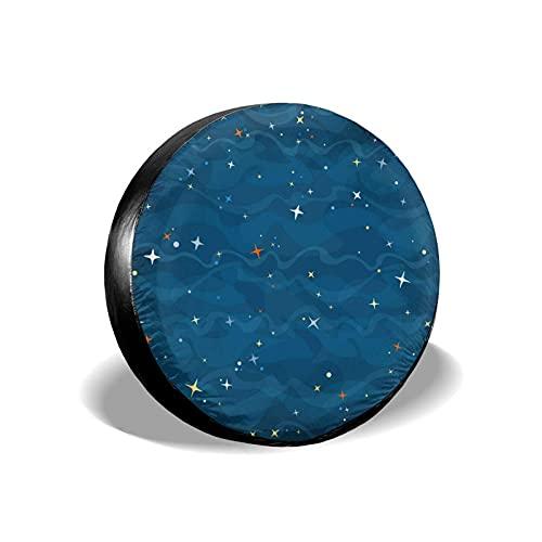 QQIAEJIA Cubierta de neumático de Repuesto Protectores de Rueda Galaxy Azul de Dibujos Animados Funda de poliéster Resistente a la Intemperie para Todos los SUV Camper