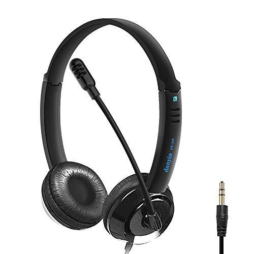 PC Headset 3,5mm, Headset Handy mit Mikrofon Noise Cancelling & Lautstärkeregler, PC Kopfhörer 3,5mm Klinke, für Computer Business, Skype, SoftPhone, Call Center, Office