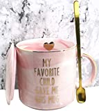 Wash : NO Microwave or Dishwasher Including:.1 x 12 oz mug, 1 x cup lid, 1 x spoon , 1 x gift box Gold letter Marble Ceramic Mugs are entirely handmade. Each mug's pattern is unique. This mug is a great gift mom and dad from daught and son and kid fo...