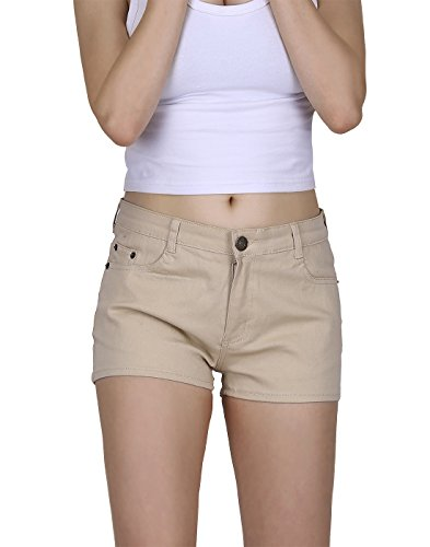 HDE Women's Solid Color Ultra Stretch Fitted Low Rise Moleton Denim Booty Shorts (Khaki, X-Small)