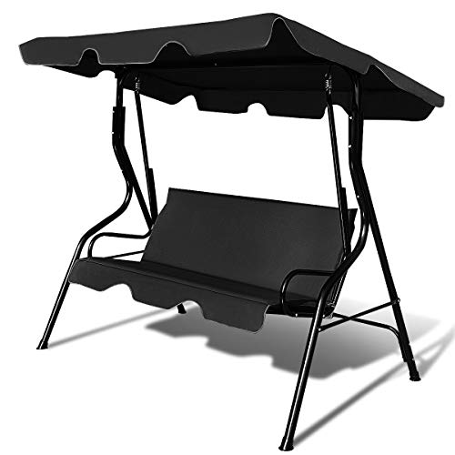 Tangkula 3 Seater Canopy Swing, Outdoor Patio Swing with Cushioned Steel Frame,Glider Swing Bench for Garden Backyard Porch (Black)