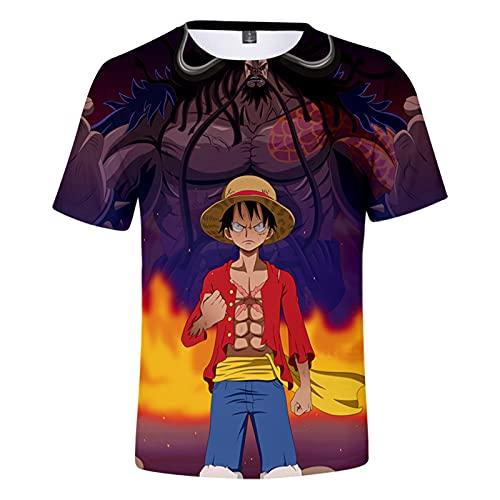 CYANDJ-One Piece-Camiseta de Manga Corta para niños Impresa en 3D, Camisa Polo Neutra y Divertida de Verano, suéter de Fiesta de Moda, Camiseta de Rebeca para niños-110