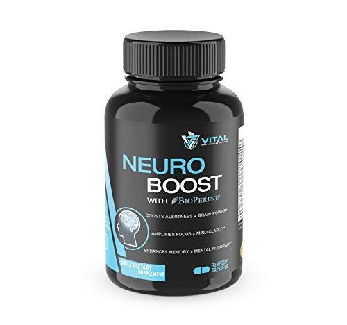 Nootropics Boost Formula –Brain, Alertness, Memory, Focus, Clarity, Mental Accuracy – Neuro Supplement w/Vitamin B, DMAE, Ginkgo Biloba, Bacopa Monnieri, More - 30 VCaps
