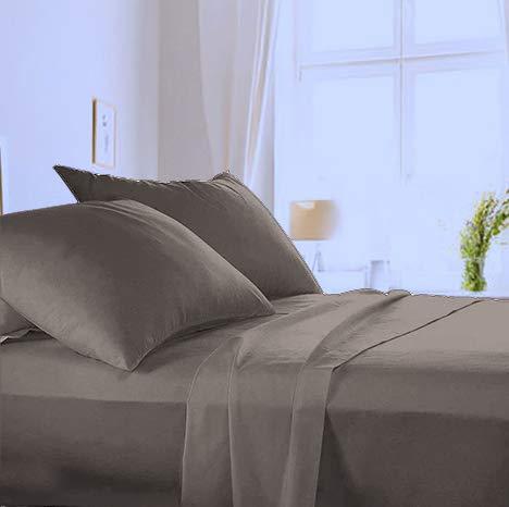 Made in Italy - Completo Lenzuola per letto 1 Piazza e Mezza in puro cotone di alta qualità 100% Made in Italy (sotto con Angoli H 20cm) Angel's (Grigio, 1 piazza e mezza)