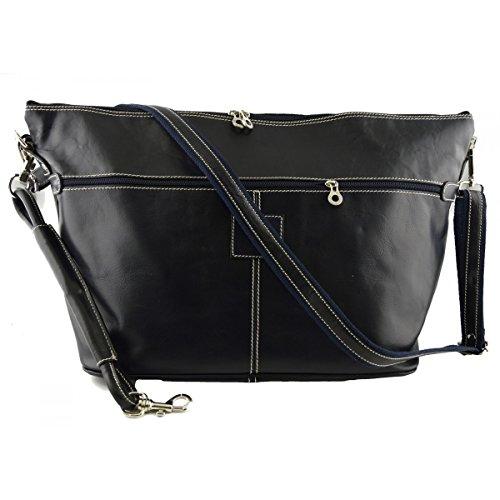 Dream Leather Bags Made in Italy toskanische echte Ledertaschen Echtes Leder Reisetasche Farbe Dunkelblau - Italienische Lederwaren - Reisetasche