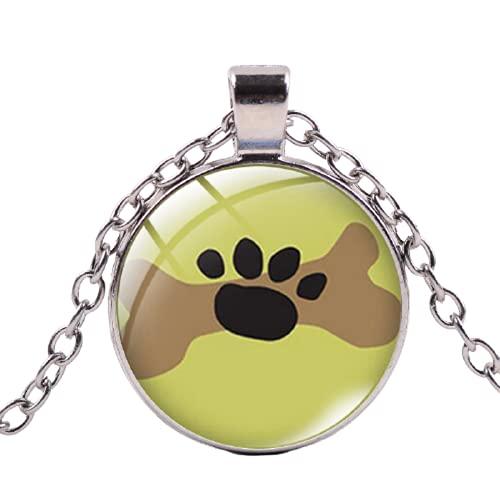 Dibujos animados gato perro huella collar lindo animal pata cristal Cabujón colgantes cadena larga...