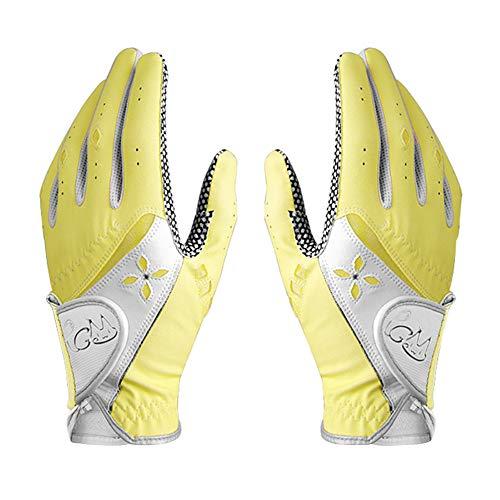 Asudaro Golf Handschuhe 1 Paar PU rutschfeste Partikel Damen Sommer Golfhandschuhe für Rechtshänder Linkshänder Feste Verstellbare Atmungsaktive Handschuhe Outdoor-Sportarten Gelb