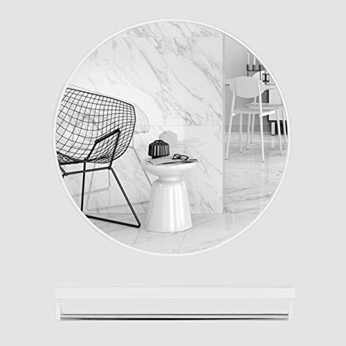 Espejo De Baño, Metal Aleación De Aluminio Espejo De Pared Baño Espejo De Tocador Espejo De Maquillaje Espejo Redondo Espejo Decorativo + Estante De Almacenamiento Multifuncional,Blanco,40CM