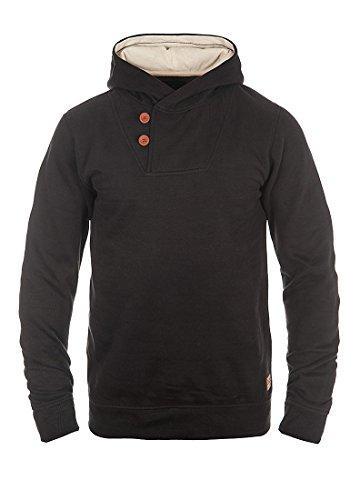 Blend Alessandro Herren Kapuzenpullover Hoodie Pullover Mit Kapuze Knopfleiste Und Fleece-Innenseite, Größe:S, Farbe:Black (70155)