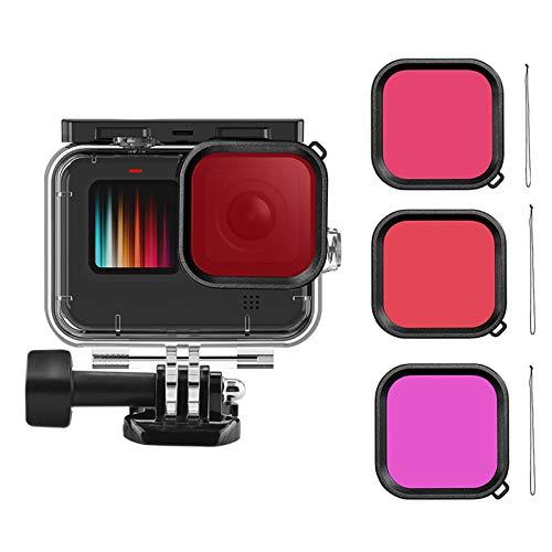 precauti Carcasa Kit de Filtro Kit de Accesorios para cámara de acción Carcasa Impermeable Carcasa Protectora Duradera para GoPro 9