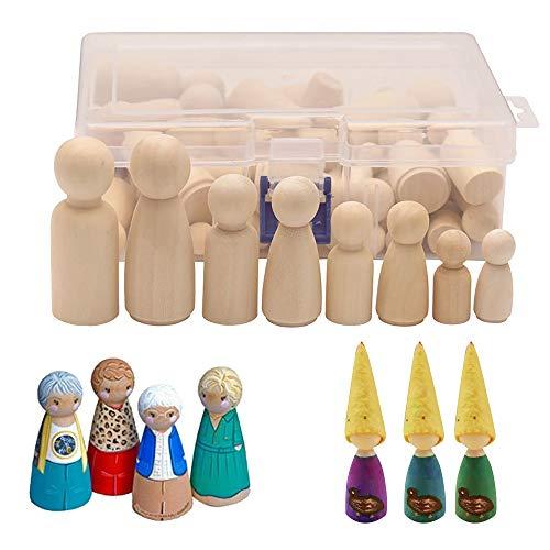 Vegena 50 Stück Hölzerne Puppe Holzfiguren, Figurenkegel DIY Holzfiguren Puppen Deko, Humanoide Marionette Kinderspielzeug Bemalen Basteln Holz Männlich und Weiblich Puppe, 4 Größe