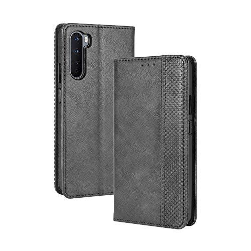 VGANA Tasche Hülle für Oneplus Nord 5G, Brieftasche Handyhülle Retro Muster mit Magnetverschluss & Ständer Funktion Schutzhülle. Schwarz