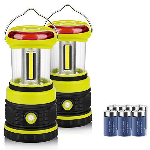 LED Camping Lanterns 2 Pack COB Battery Lantern 6D Batteries Included 1200LM 4 Light Modes Waterproof Lantern Flashlight Perfect Tent Light for Power Outage Hurricane Survival Hiking